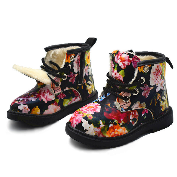 Girls Boots 2017 Winter Plush Children Cute Flower Girls Baby Snow Boots Warm Shoes PU Leather Rubber Kids Shoe Martin Boots