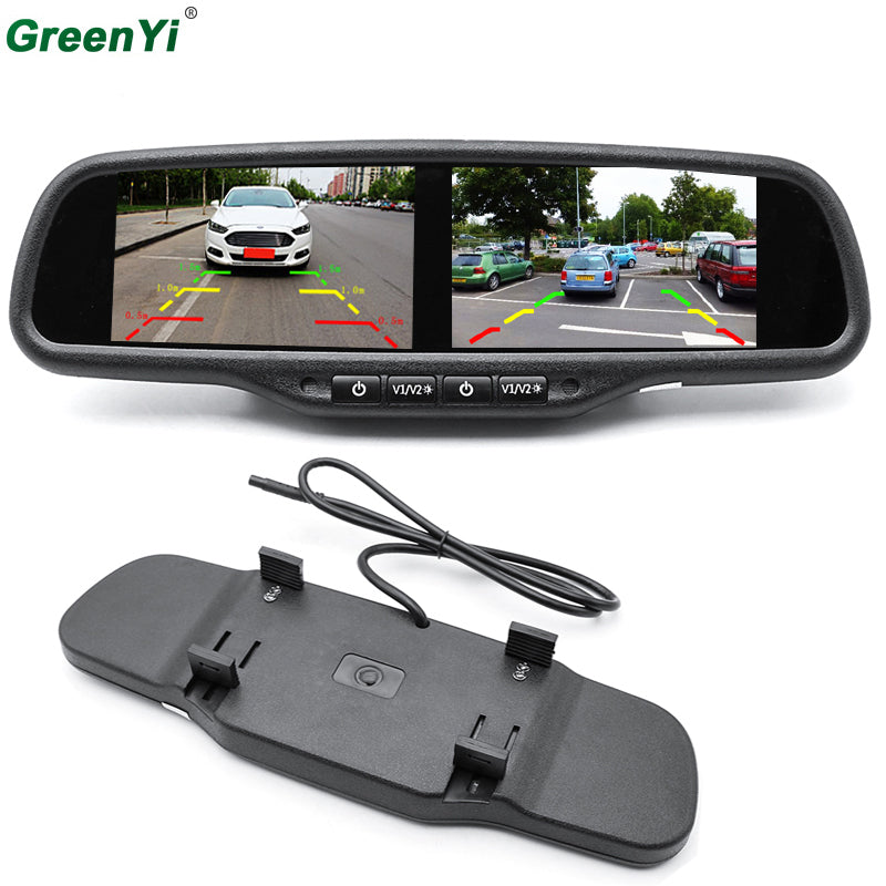 GreenYi HD 800X480 Dual 4.3 Inch Rear View Car Monitor Mirror - LADSPAD.UK