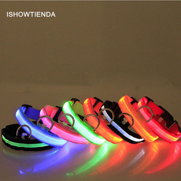 ISHOWTIENDA Hot Safety Pet Collar For Lighted Up Nylon Solid LED Dog Collar Glow Necklace Household Pet Outdoor Playing at Night