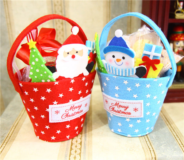 New Fashion 4 pcs/set Lovely Christmas Gift Bags Candy Holders Confection Party Decor Festival Gift Non-woven Fabrics