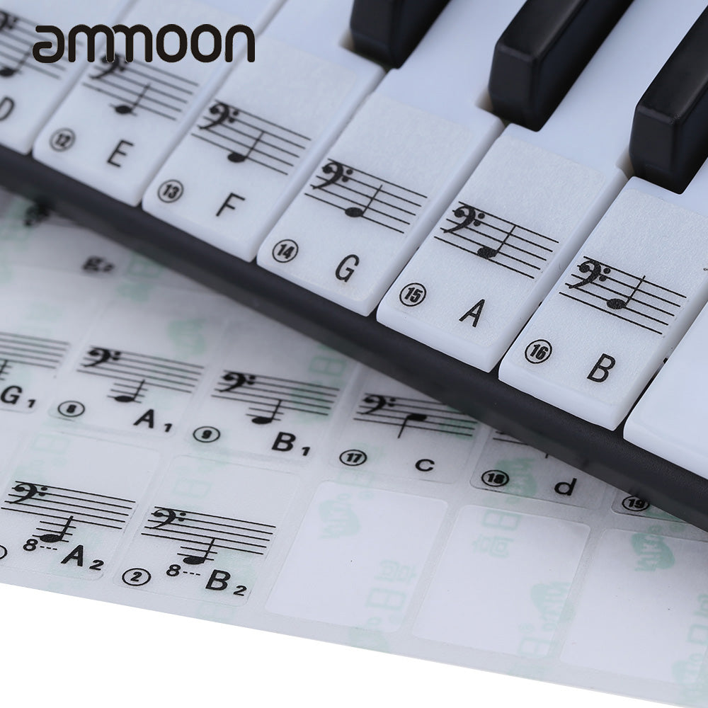 Keyboard Sticker Transparent Piano Keyboard Sticker 49/61 Key Electronic Keyboard 88 Key Piano Stave Note Sticker for White Keys - LADSPAD.COM