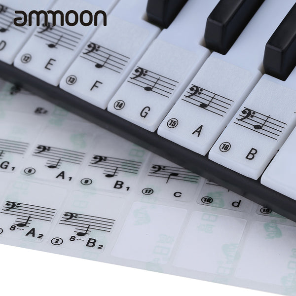 Keyboard Sticker Transparent Piano Keyboard Sticker 49/61 Key Electronic Keyboard 88 Key Piano Stave Note Sticker for White Keys