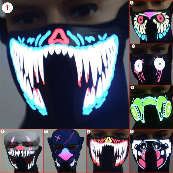 Hot Sale Creative Cool LED Luminous Flashing Half Face Mask Party Event Masks Light Up Dance Halloween Cosplay Waterproof