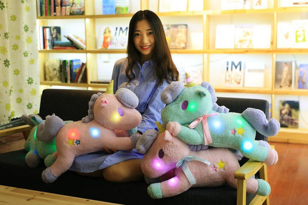 Big Luminous Pillow 55CM Unicorn Led Light Green Pink Unicorn Horse Plush Stuffed Animals Toys Girl Toy Birthday Christmas Gift - LADSPAD.UK