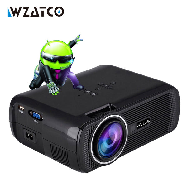 WZATCO CTL80 Smart Android 6.0 wifi Portable HD led TV Projector 1800lumens 3d home theater LCD proyector video projektor beamer - LADSPAD.COM