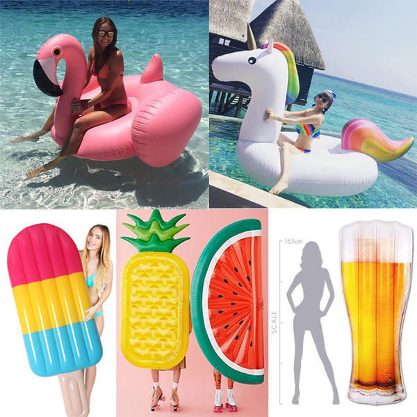 22 Style Giant Swan Watermelon Floats Pineapple Flamingo Swimming Ring Unicorn Inflatable Pool Float For Child&Adult Water Toys - LADSPAD.COM