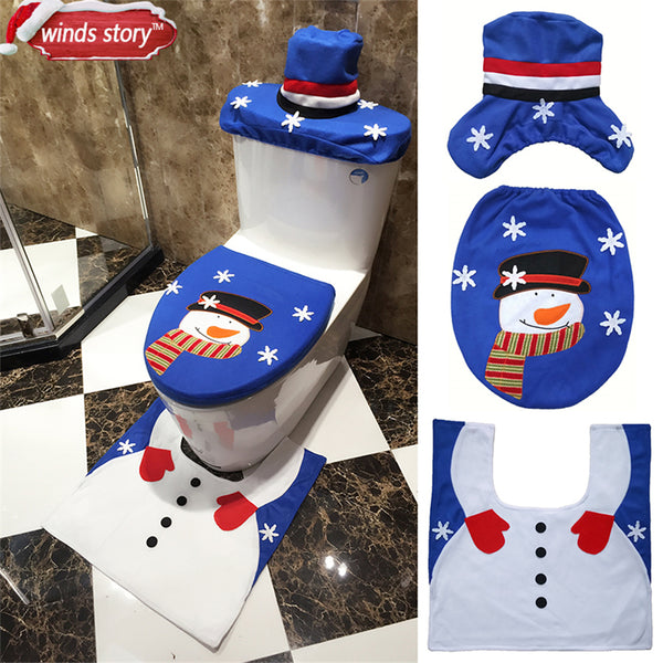 Christmas Bathroom Decor 3pcs/set Xmas Decoration Blue Snowman Toilet Seat Cover and Rug Bathroom New Year Home Decorations Gift - LADSPAD.UK