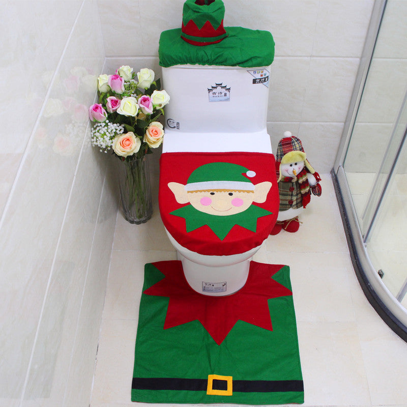 3pcs/set Happy Snowman Christmas Bathroom Set Toilet Seat Cover Rug Xmas Decoration  Bath Mat Holder Closestool Lid Cover - LADSPAD.COM
