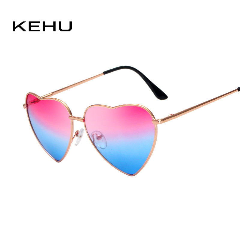 KEHU Heart Shaped Sunglasses WOMEN metal Reflective Lens Fashion sun GLASSES MEN Mirror oculos de sol NEW k9073 - LADSPAD.UK