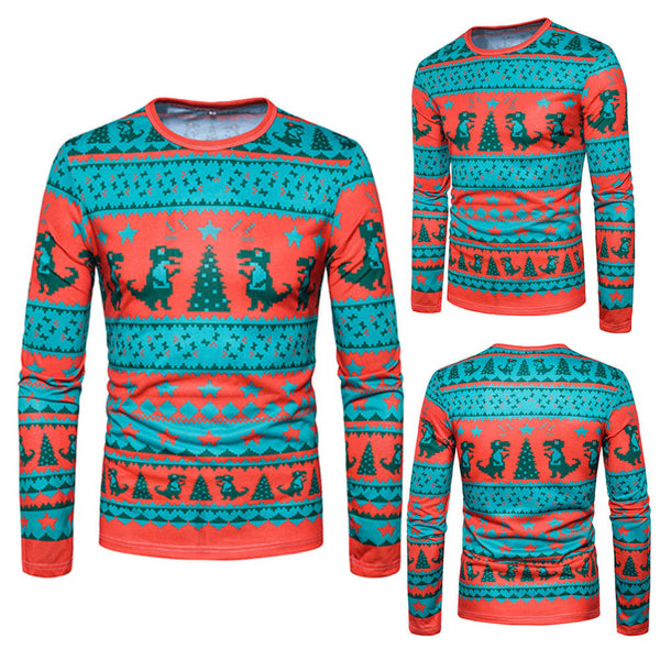 Men Autumn Winter Xmas Christmas PrintingTop Men's Long-sleeved T-shirt Blouse - LADSPAD.UK