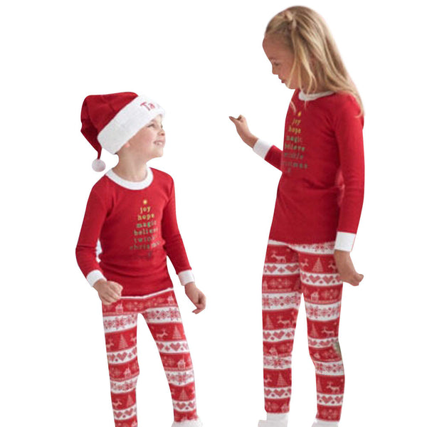 Christmas XMAS Kids Baby Pajamas Set Sleepwear Nightwear Pyjamas - LADSPAD.UK