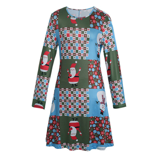 Women Xmas Print Swing Dress Ladies Christmas Long Sleeve Flared Party Dresses - LADSPAD.UK