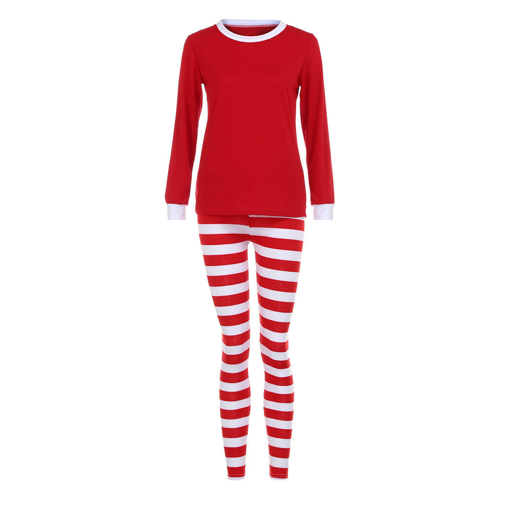Women Family Matching Christmas Pajamas Set Blouse +Santa Striped Pants - LADSPAD.UK