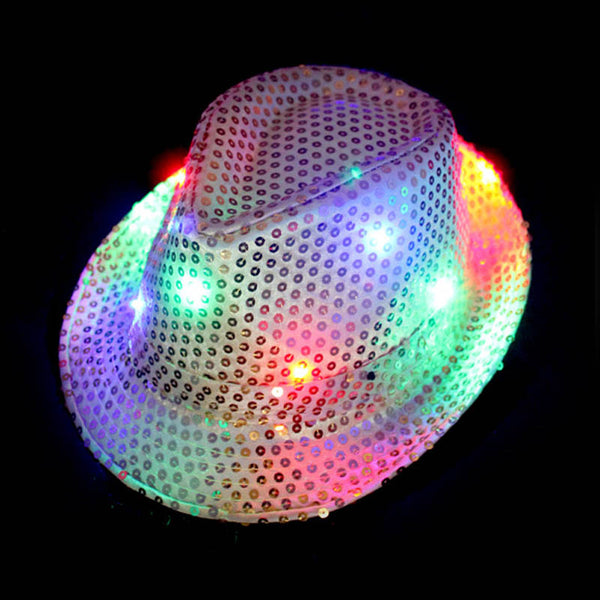 LED Lighted Flashing Fedora Hat Cap - LADSPAD.UK