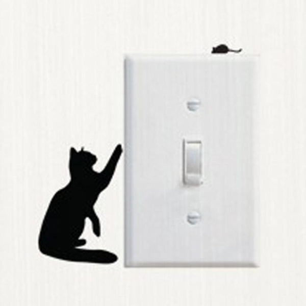 Hot ! Switch Panel Sticker Removable Cute Lovely Black Cat Switch Wall Sticker Vinyl Decal Home Decor Decal Kids room D39JL11