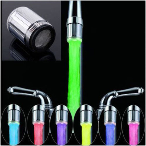 2017 LED Water Faucet Stream Light 7 Colors Changing Glow Shower Stream Tap Head Pressure Sensor Kitchen Bathroom Accessory - LADSPAD.COM