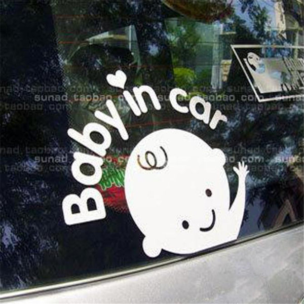 Car-styling Baby In Car Car Sticker Waving Baby on Board Safety Sign Funny Decal for Truck Car Window high quality - LADSPAD.COM
