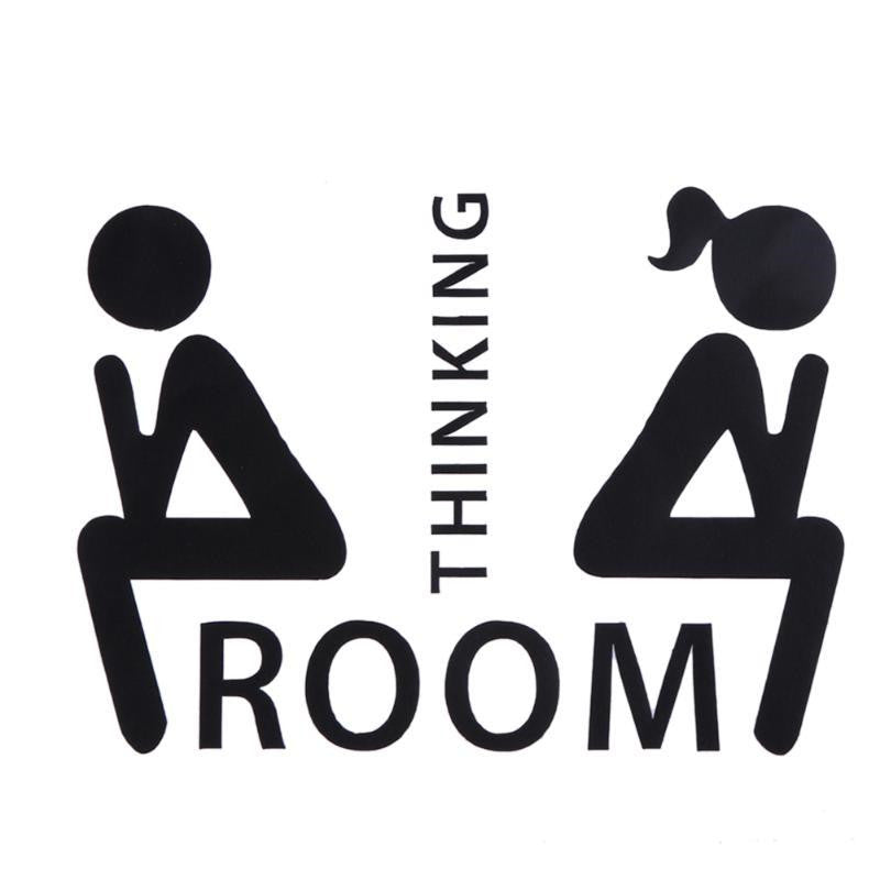 Cute Thinking Room WC Toilet Seat Wall Sticker Vinyl Art Removable Bathroom Decals Decor DIY Toilet Home Decor Mark Stickers - LADSPAD.UK