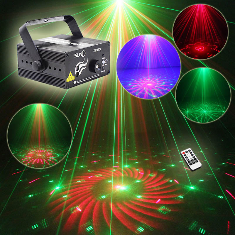 40 Patterns RG Blue LED Mini Lazer Disco Dance Light IR Control Family Wedding Party Club KTV Overhead Laser Projector Lighting - LADSPAD.COM