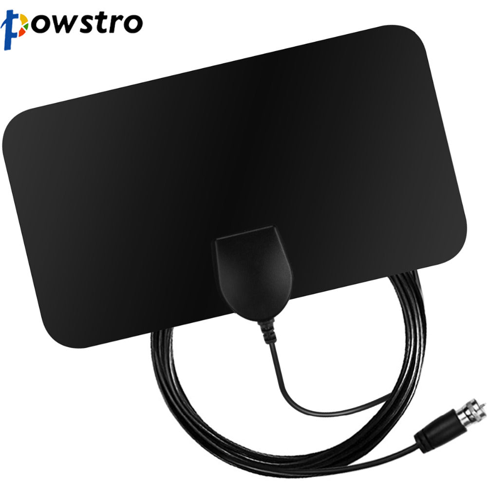 Powstro HDTV 1080P Digital  TV Antenna 25 Miles Range Indoor Flat TV Antenna no amplifier with Coaxial Euro Adapter - LADSPAD.COM