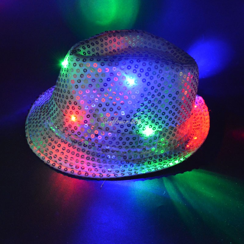 LED Flashing Sequins Jazz Hats Fedora Hat Cap Wedding Party Show Dance Bling for Children Boy Girl  Halloween Christmas - LADSPAD.UK