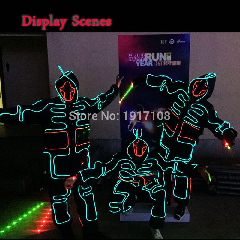 LED Suits Luminous Costumes Glowing EL Wire Hoodie Men EL Clothes Cold Strip Dance Fashion Talent Show For Party DIY Decoration - LADSPAD.COM