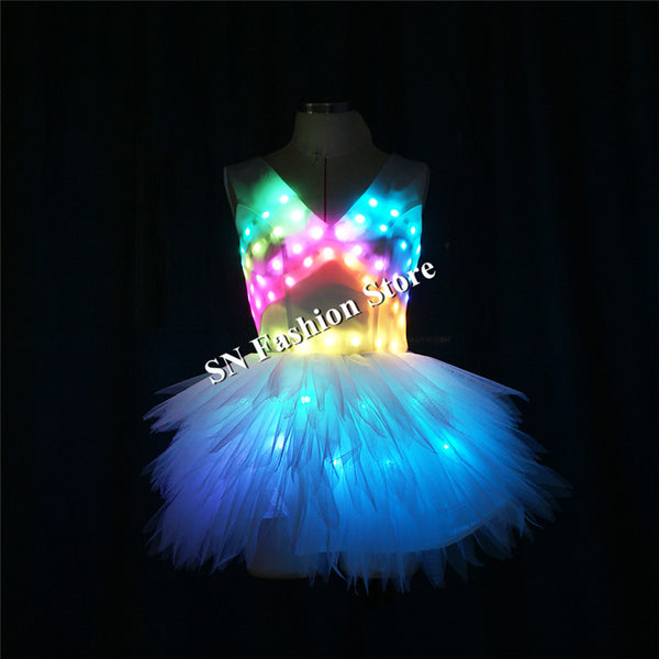 TC-182 Programmable led light dress luminous full color light ballet dance wears clothes led skirt stage show singer dj costumes - LADSPAD.COM