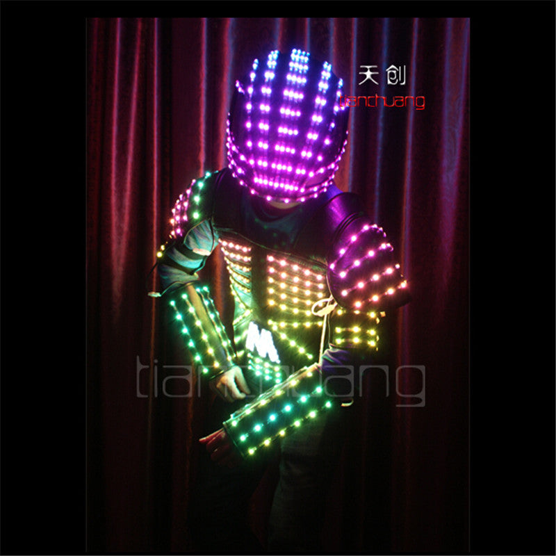 TC-102 Full color Mens robot stilts suit dancing costumes led bar disco RGB wear ballroom programming clothes LED colorful light - LADSPAD.UK