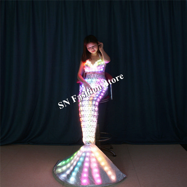TC-189 Programmable full color led costumes ballroom dance clothes luminous light Mermaid dresses party dinger wears skirt bar - LADSPAD.COM