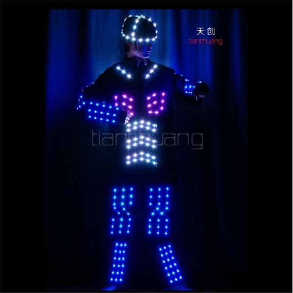 TC-166 Full color LED light robot costumes party disco wears ballroom dance programming design LED costumes men clothes dj dance - LADSPAD.UK