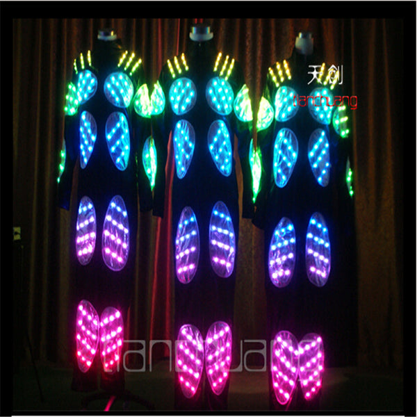 TC-14 Robo mens costumes full color LED colorful ballroom dj wears dancing luminous light stage robot suit Programmable clothes - LADSPAD.COM