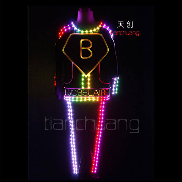 TC-125 Full color LED colorful lighted robot mens costumes led party dj wears ballroom disco dance suit Programmable LED clothes - LADSPAD.COM