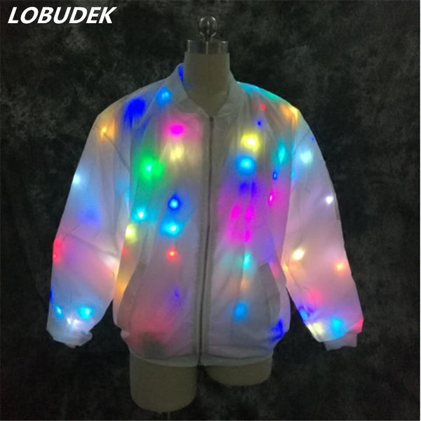 Vocal Concert LED luminous coat stage costumes female male colorful light LED Luminous clothing performance costume Club DJ show