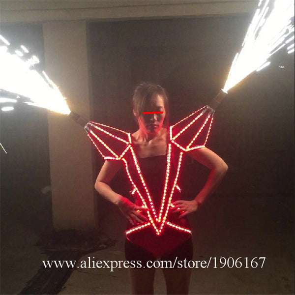 Led Luminous Illuminate Glowing Novelty Sexy Women Clothing Dress Can Spray fireworks Led Costume Suit For Stage Show - LADSPAD.UK