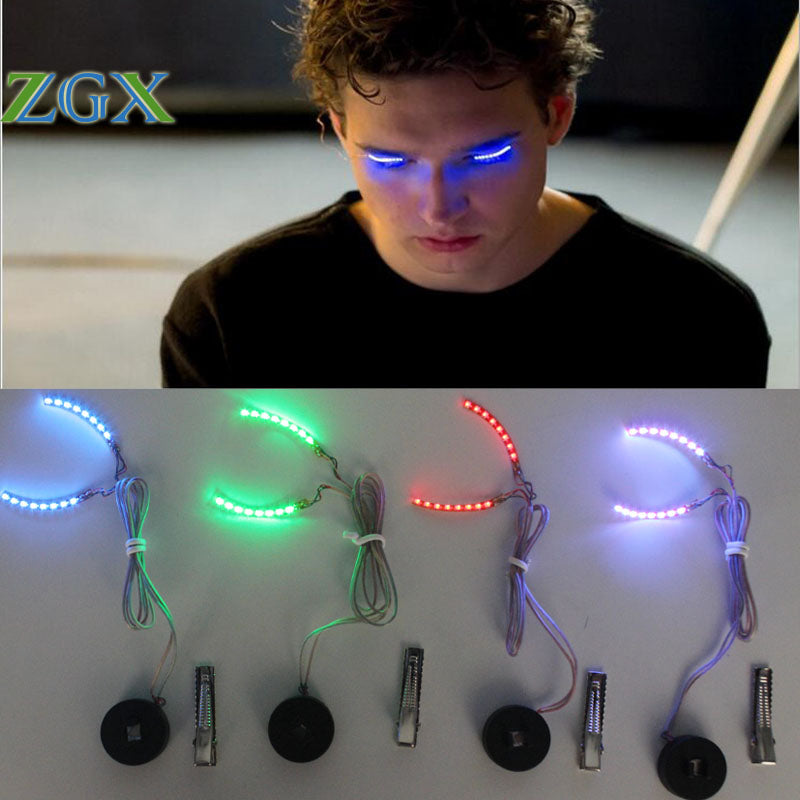 ZGX RGB Sound control False Eyelashes Unisex LED Strips Light Luminous Shining Eyelash mode Halloween Makeup Party - LADSPAD.UK