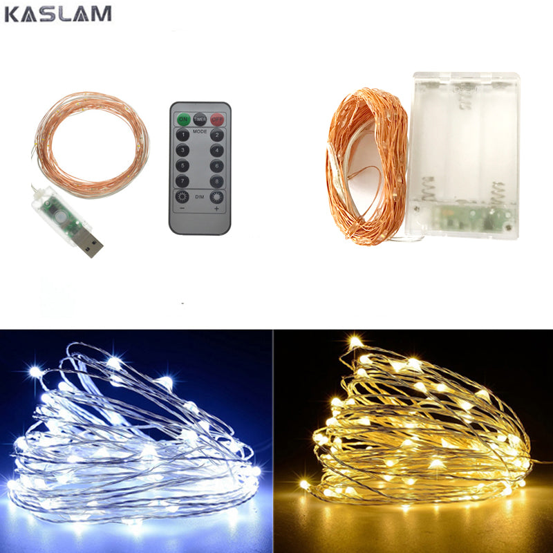 50/100 led USB/Battery Operated copper wire String Lights Christmas starry Fairy Lights for Garland/Party/Wedding Decoration - LADSPAD.UK