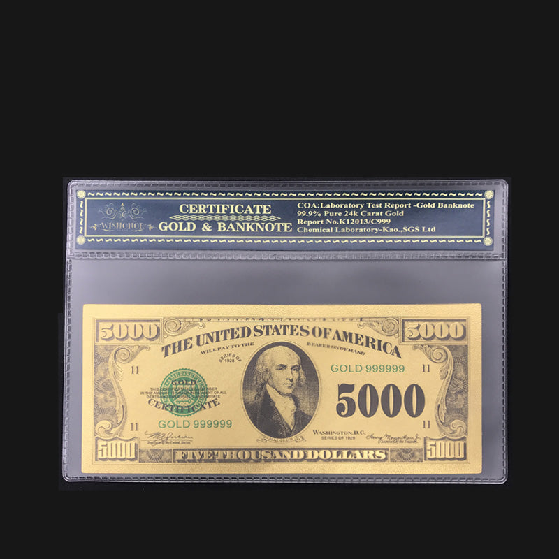 High Quality 24k Gold 5000 Dollar Banknote - LADSPAD.UK