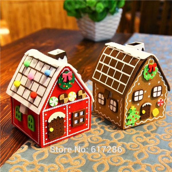 Free shipping! 2pcs/lot Gingerbread House Christmas house Felt Brown & Red House Hot Sale Big Candy Bag Christmas Gift Holder - LADSPAD.COM