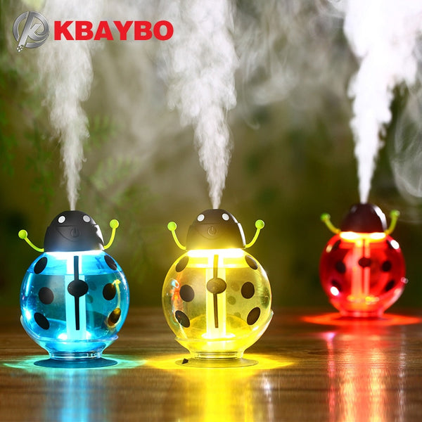 Beetle humidifier USB Humidifier Aroma diffuser Aromatherapy Essential oil diffuser Mini Portable Mist Maker 260ml LED Night - LADSPAD.UK