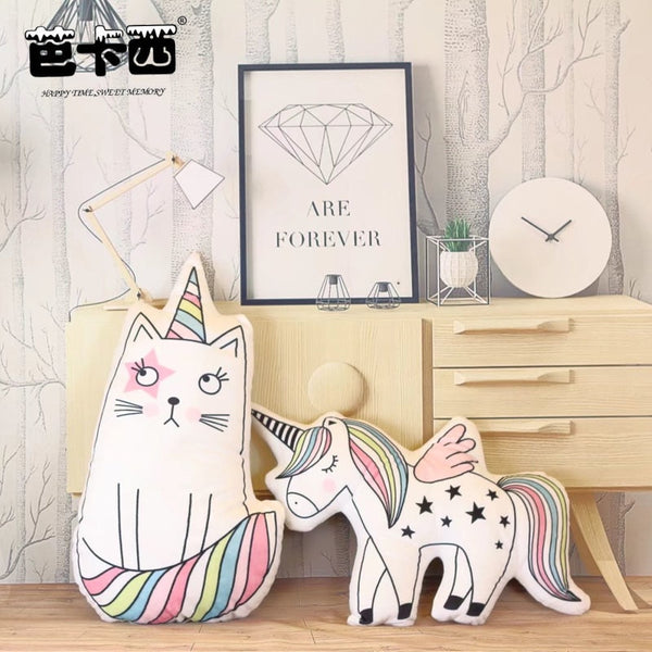 cute unicorn pillow stuffed plush unicorn toy animal cushion kids toy cat hippocampus pillow for children birthday gift for girl - LADSPAD.COM