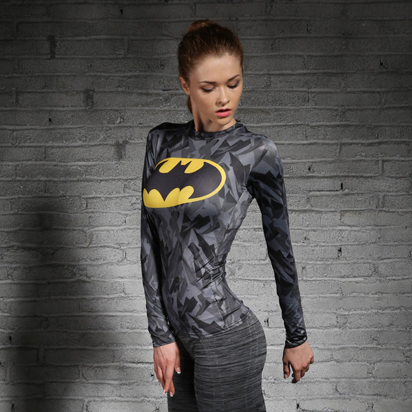 Women T-shirt Bodys Marvel costume superman/batman T Shirt Long Sleeve Girl Fitness Tights Compression tshirts - LADSPAD.COM