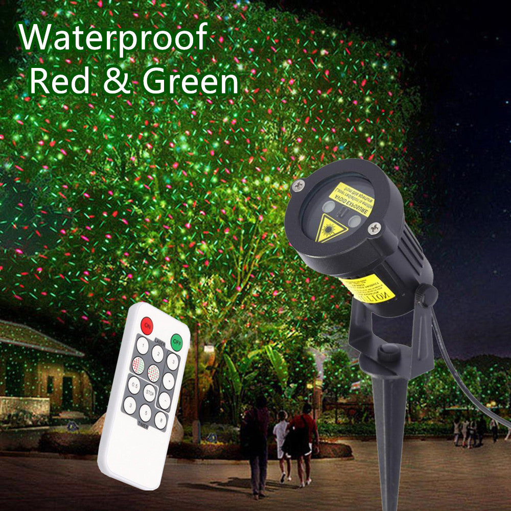 Outdoor Christmas Laser Light Star Projector LED Lawn Light Red Green Waterproof Landscape lamp decor with Power Plug - LADSPAD.COM