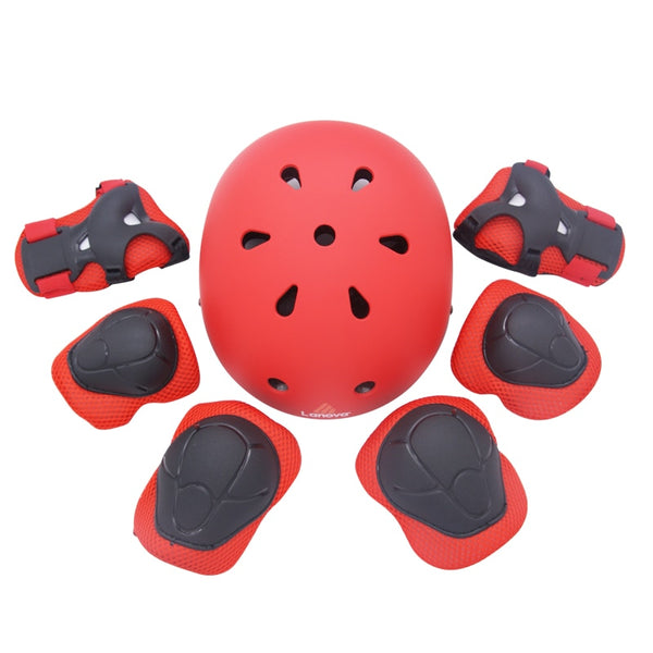 LANOVA Protector 7Pcs/set Cycling Skating Skateboard Helmet Elbow Knee Wrist Pads Children Bike Bicycle Roller Protect gear - LADSPAD.COM