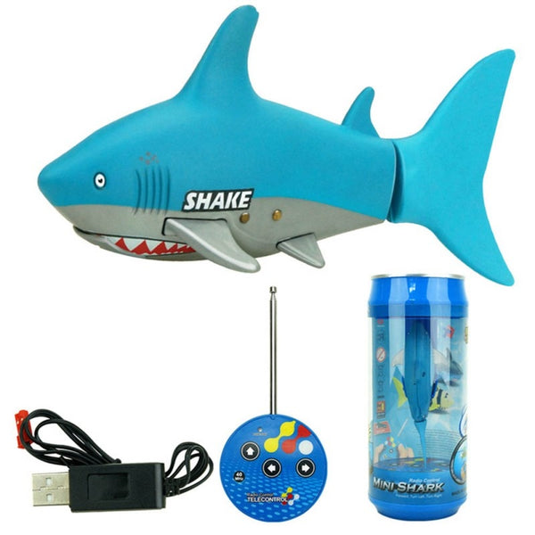 Funny Toy! 3CH 4 Way RC Shark Fish Coke Can Radio Control RC Mini Electronic Shark Fish Boat Kids Toy Gift For Kids J2 - LADSPAD.UK