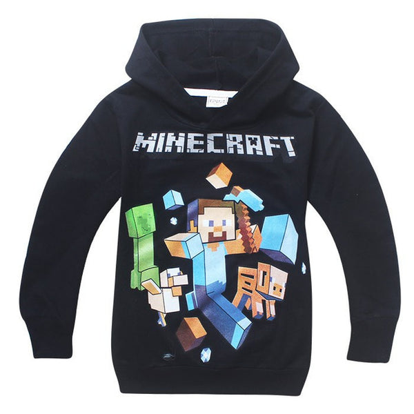 Kids Black Pullover Cotton Sweatshirt Minecraft  Pattern Children Clothes Hoodie Gift For Boys - LADSPAD.UK