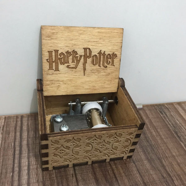 DROPSHIPPING Hand Crank Harry Potter Engraved Wooden Box play Movie Music Best Toy Gift For fans Unique Christmas Gift - LADSPAD.COM