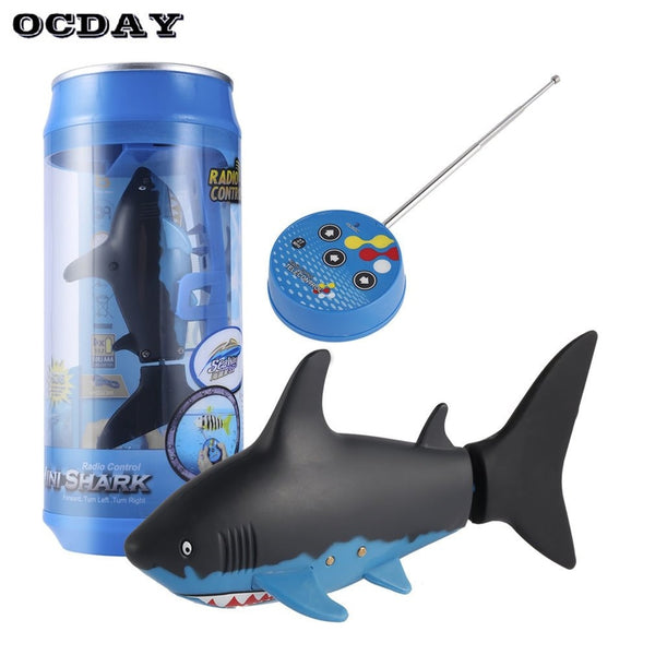 OCDAY Mini RC Submarine 4 CH Remote Small Sharks With USB Remote Control Toy Fish Boat Best Christmas Gift for Children Kids New - LADSPAD.UK