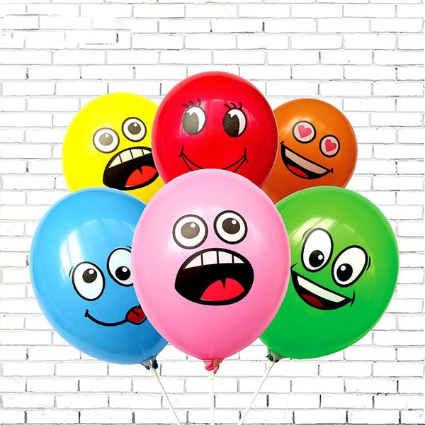 10PCs/lot Cute Printed Big Eyes Smile Inflatable Toys Happy Birthday Party Decoration Inflatable Air Ballons Balls For Kids Gift - LADSPAD.COM