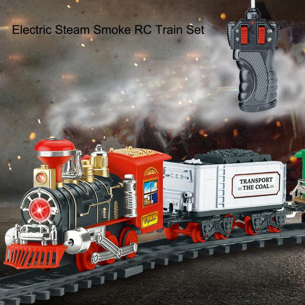 Remote Control Conveyance Train Electric Steam Smoke RC Train Set Model Toy Gift for Children