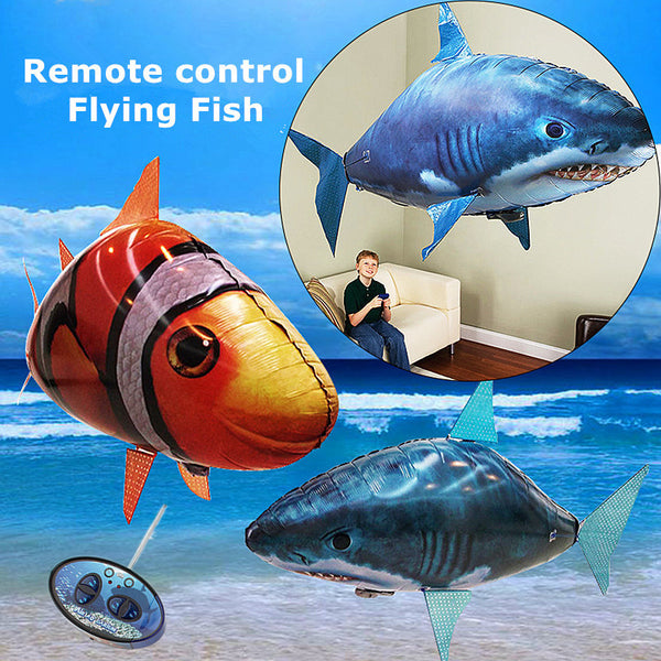 1PCS Remote Control Flying Air Shark Toy Clown Fish Balloons Inflatable With Helium Fish plane RC Helicopter Robot Gift For Kids - LADSPAD.UK